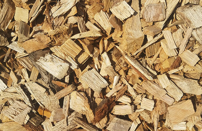 chipped virgin forest wood mulch