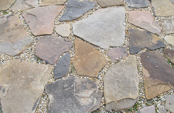stepper paving stones on a patio