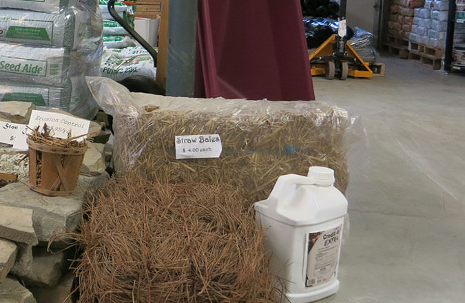 pine straw bales and pink bark nuggets