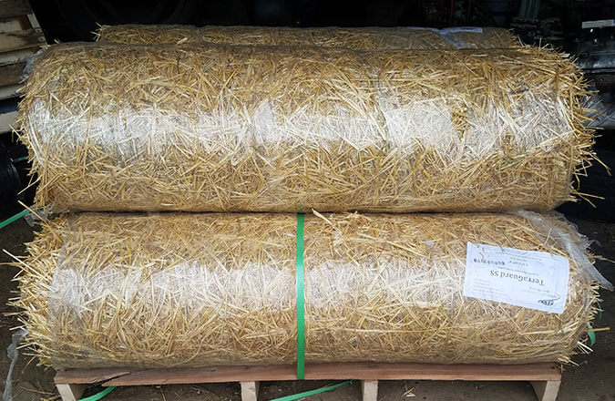 close up of straw blankets for erosion control